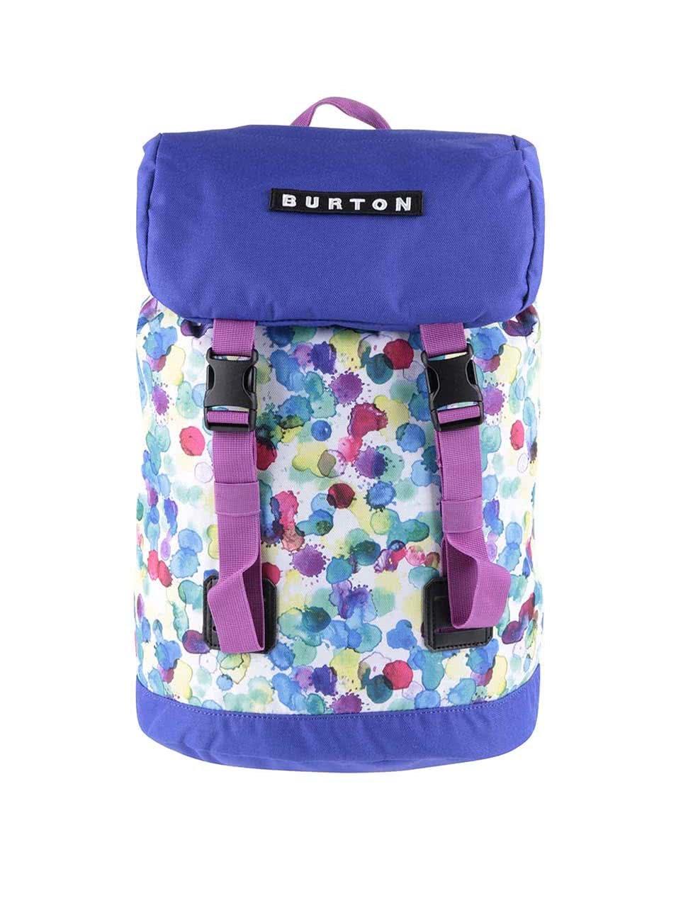 Bílo-fialový dětský batoh s barevnými puntíky Burton Tinder