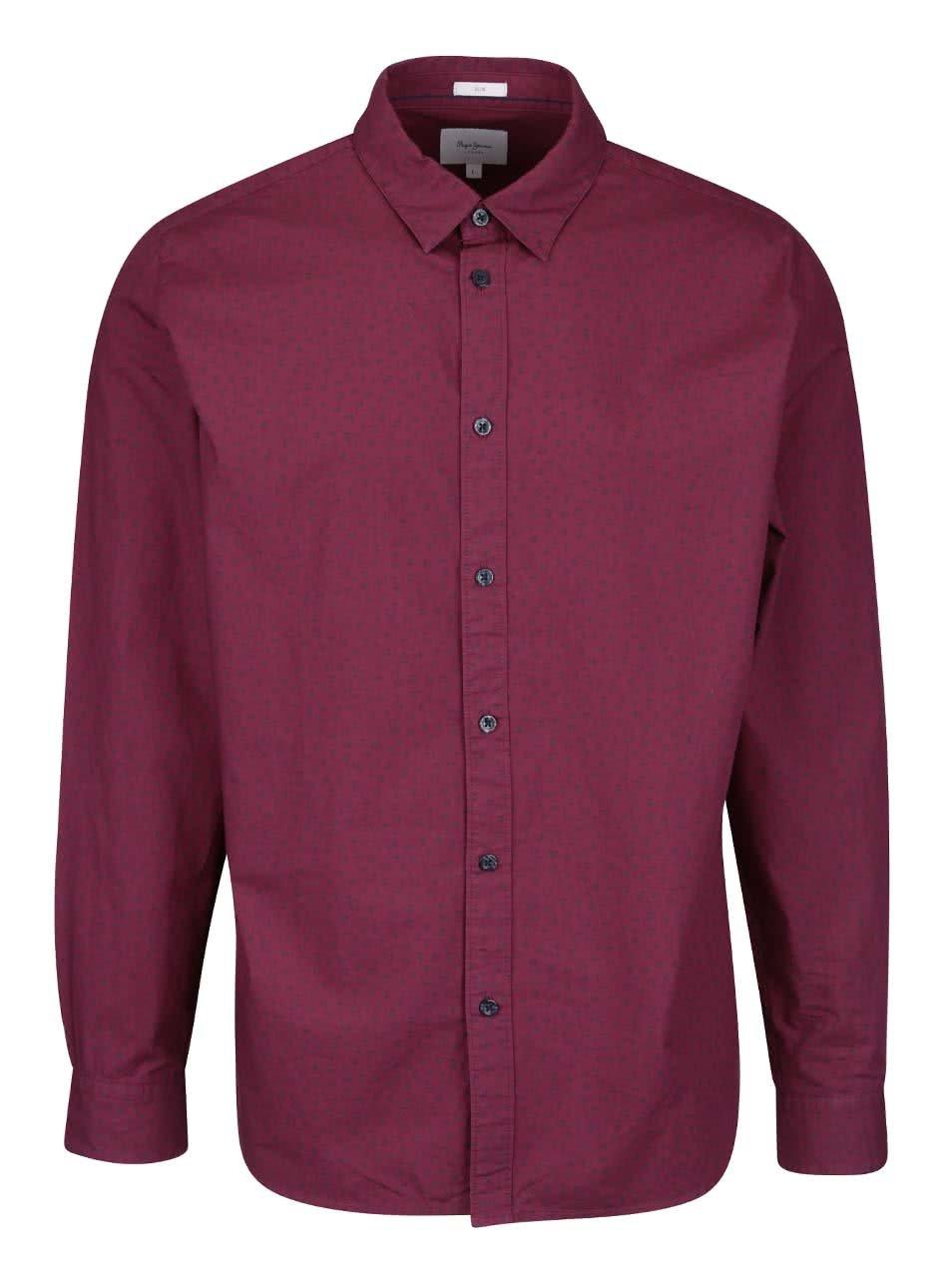 Vínová pánská slim fit košile se vzorem Pepe Jeans Calengon