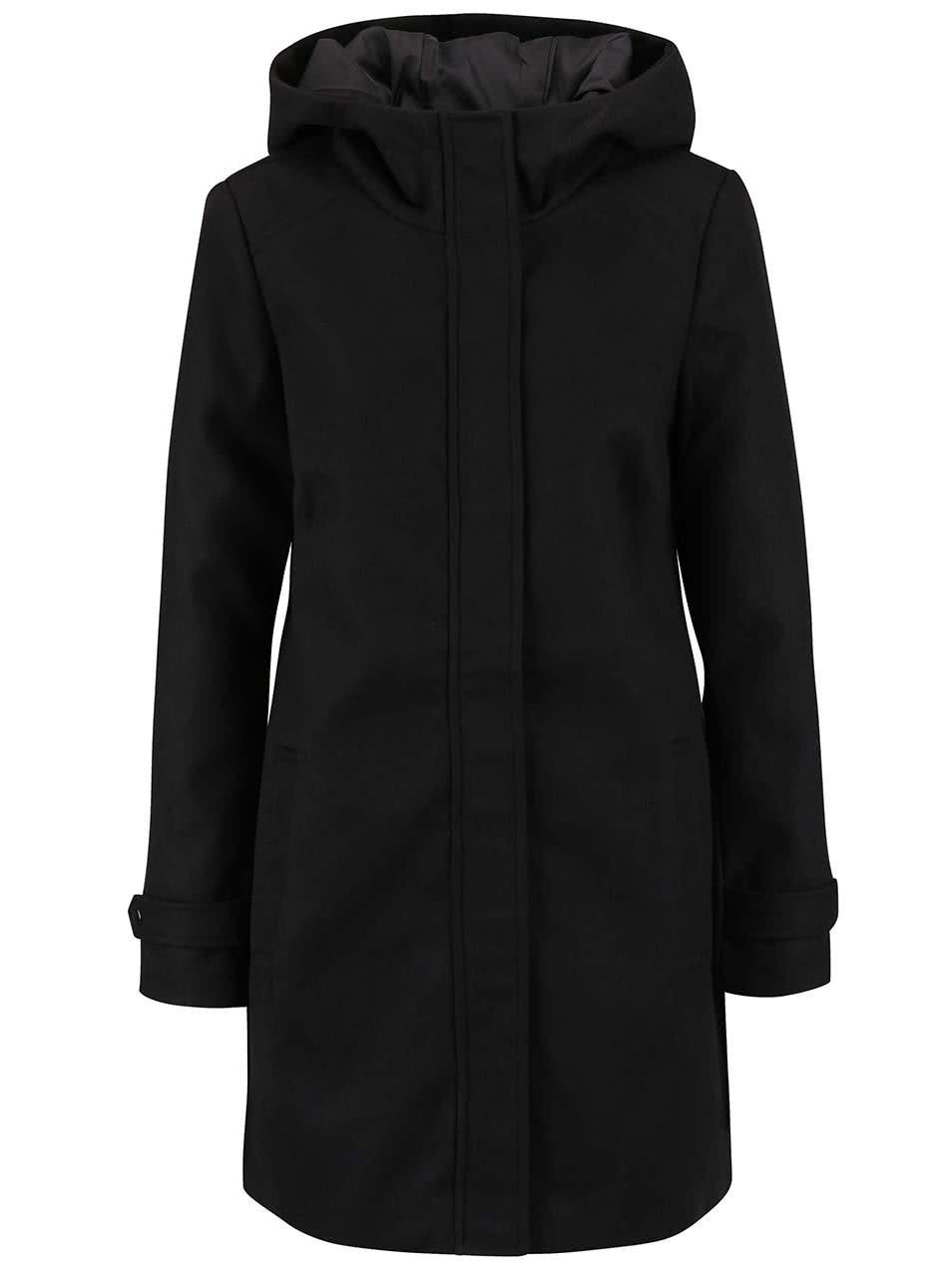 Černý kabát s kapucí Vero Moda Mialiga