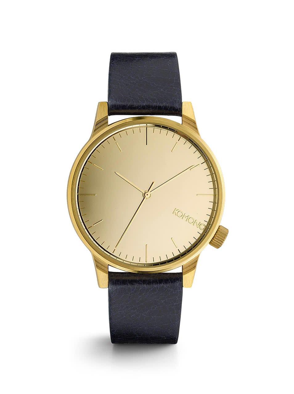 Pánské hodinky ve zlaté barvě s tmavě modrým koženým páskem Komono Winston Mirror