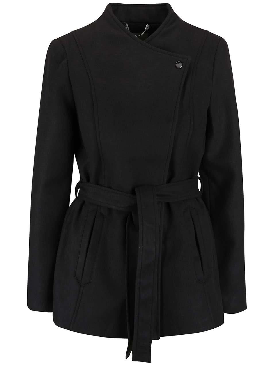 Černý kabát s páskem Vero Moda Fieliga