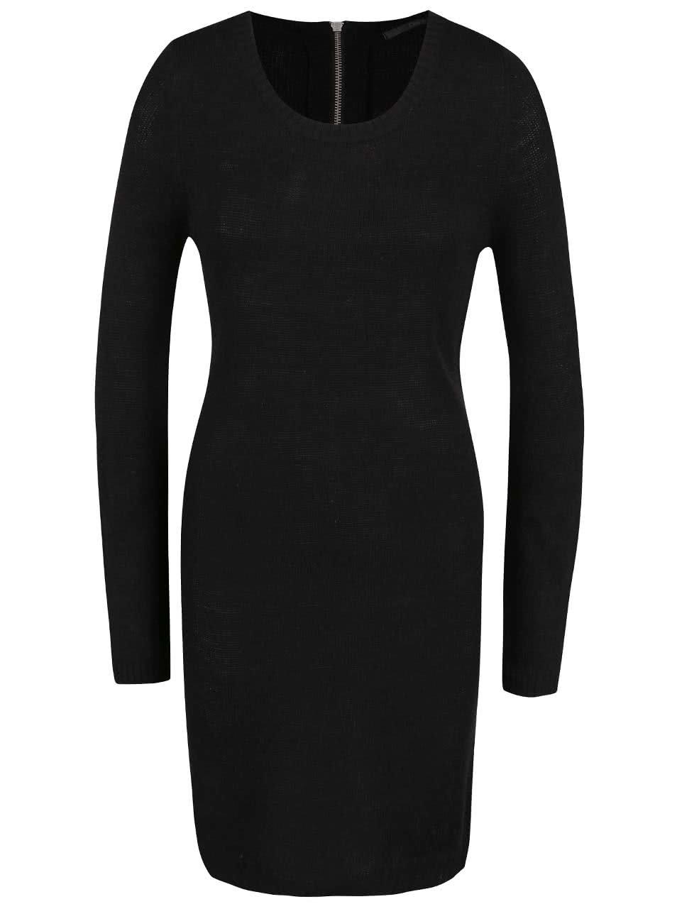 Černé úpletové šaty s dlouhým rukávem ONLY New Hayley