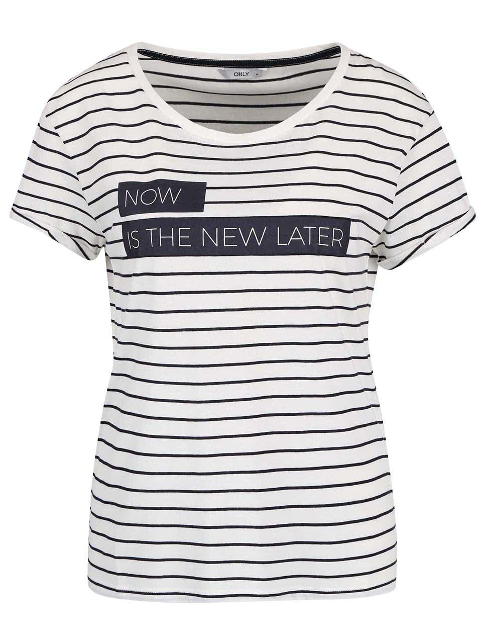 Krémové pruhované tričko s potiskem ONLY Medea