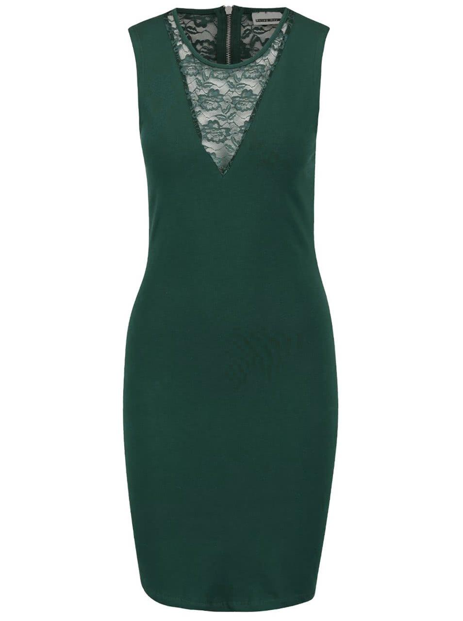 Tmavě zelené šaty s krajkou Noisy May Kelly