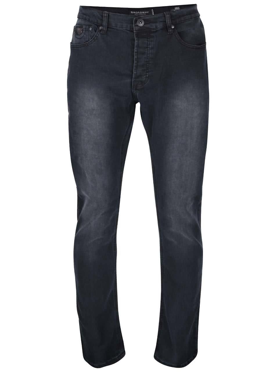 Černé pánské regular fit džíny s vyšisovaným efektem Broadway Jake