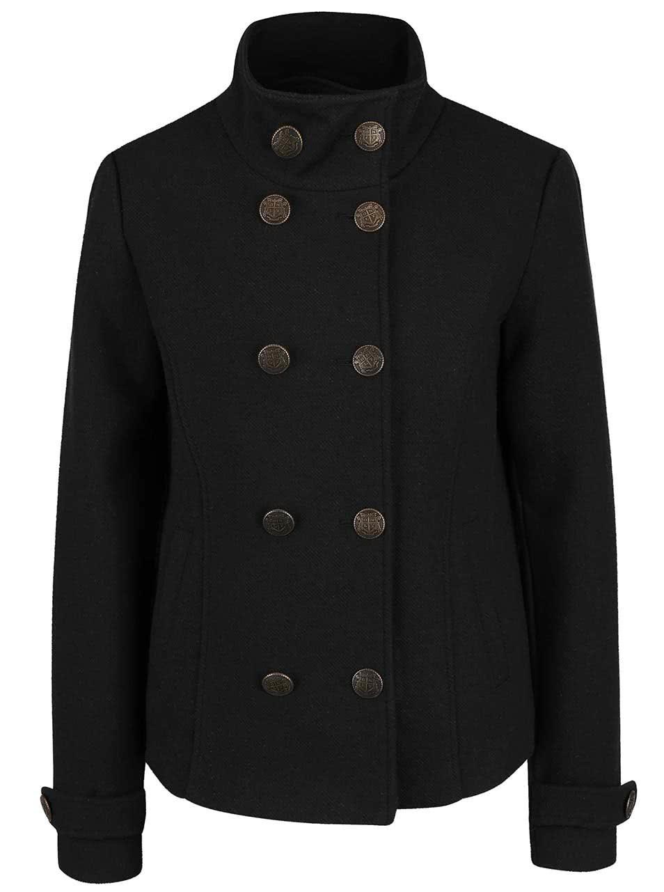 Černý kratší kabát s límcem ONLY Jenny