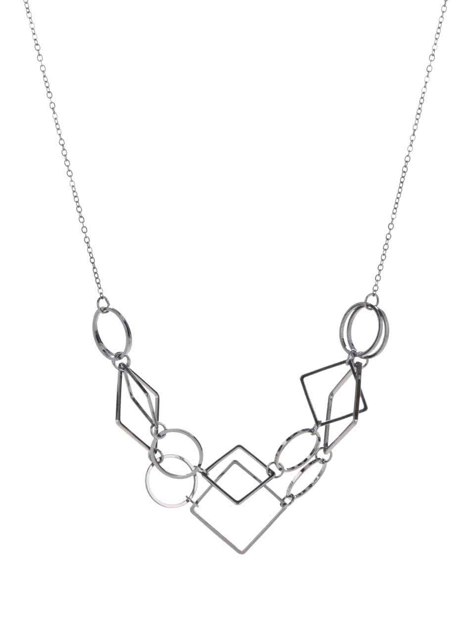 Metalický náhrdelník s geometrickými přívěsky Pieces Line
