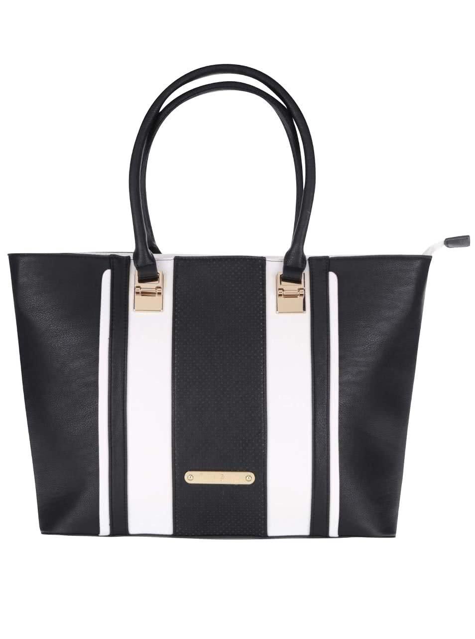 Bílo-černý pruhovaný shopper Anna Smith