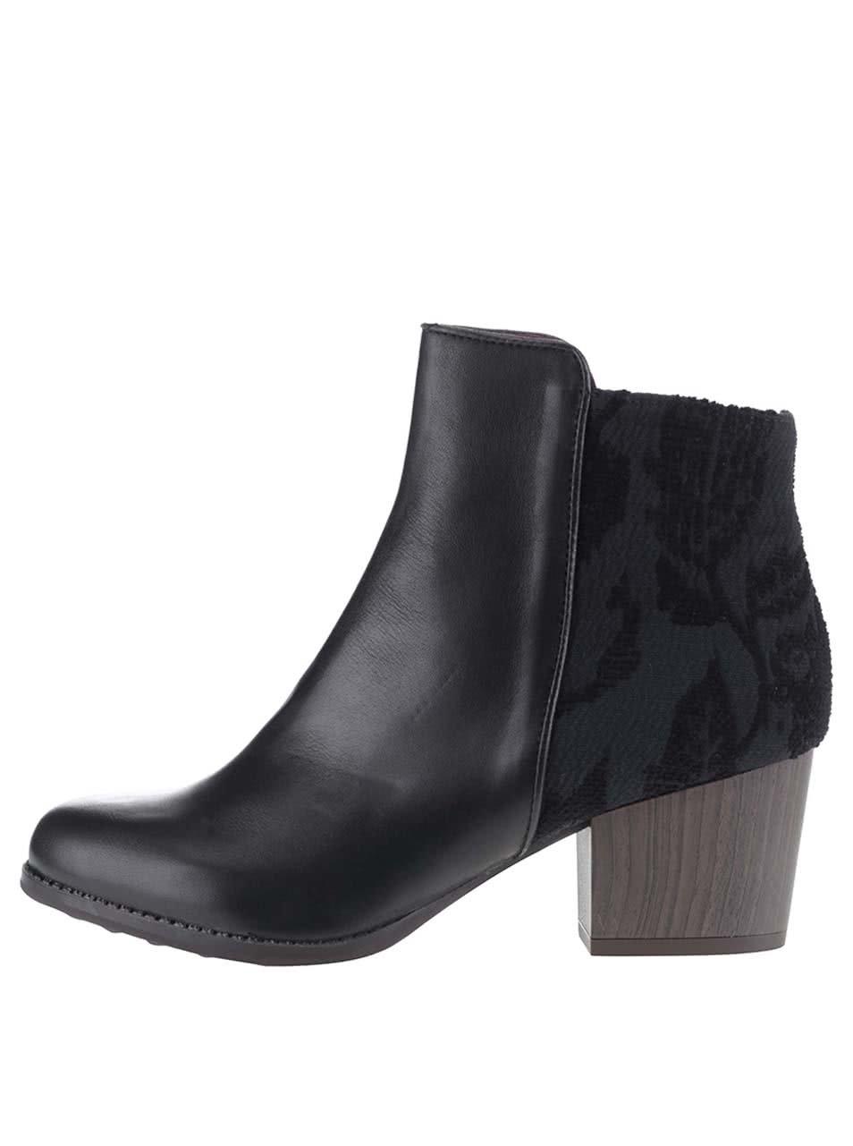 Černé kotníkové boty na podpatku Desigual Country