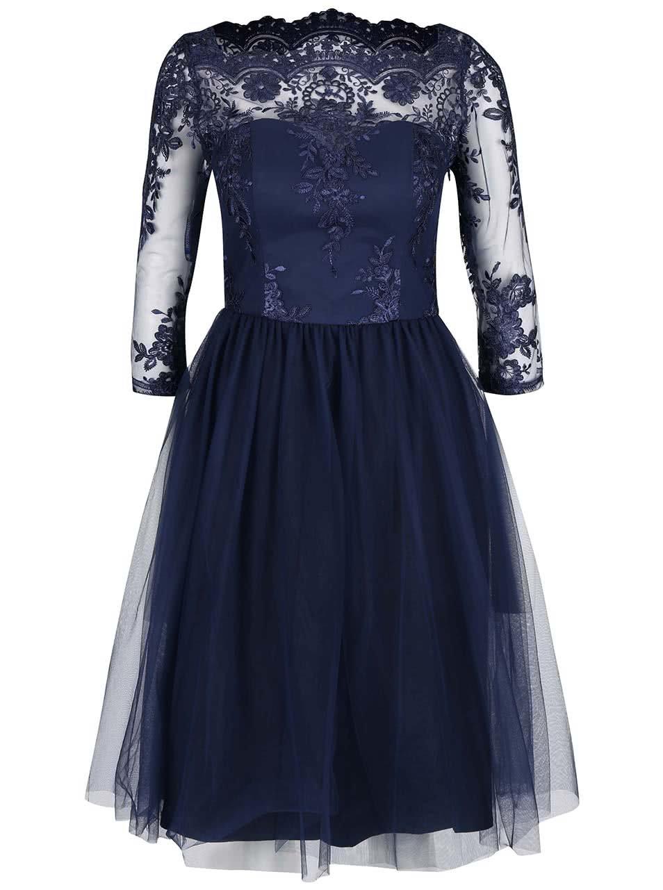 Tmavě modré šaty s 3/4 krajkovanými rukávy Chi Chi London Brandi