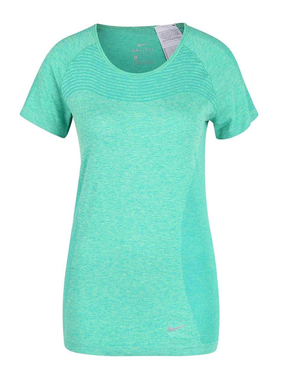 Zelené žíhané dámské tričko Nike Dri-Fit Knit