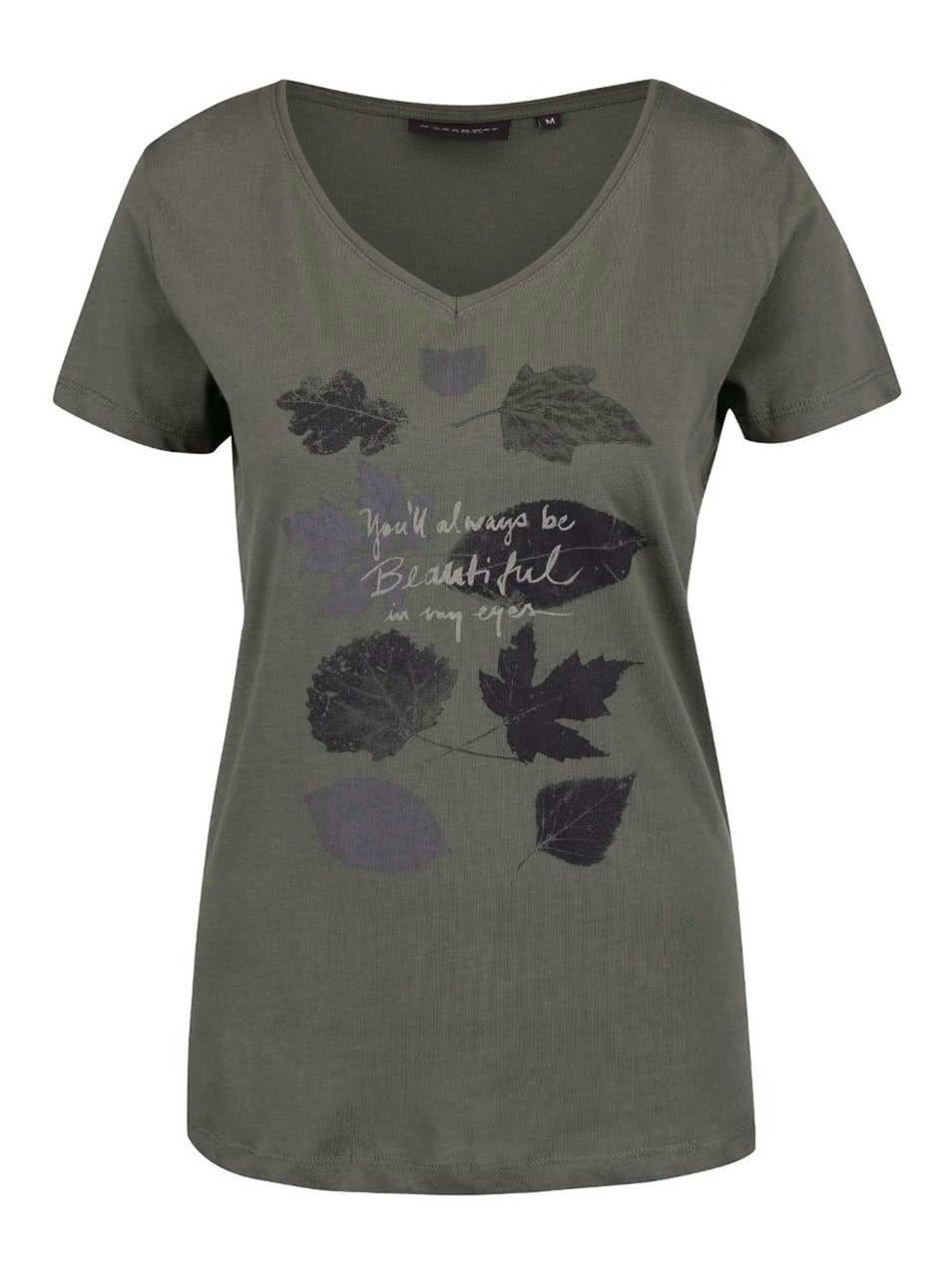 Khaki dámské tričko s potiskem Broadway Betty