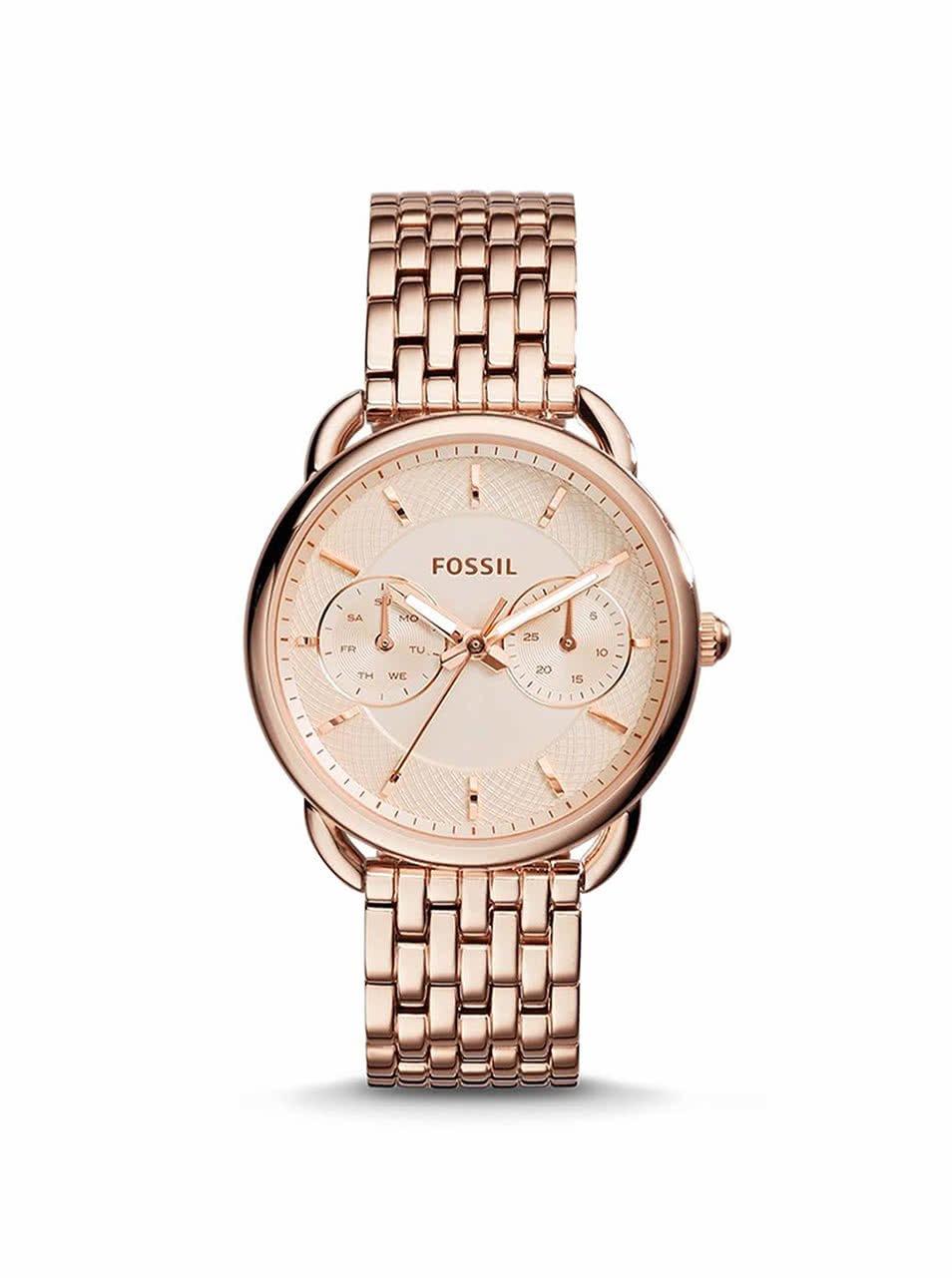 Dámské hodinky v růžovo-zlaté barvě Fossil