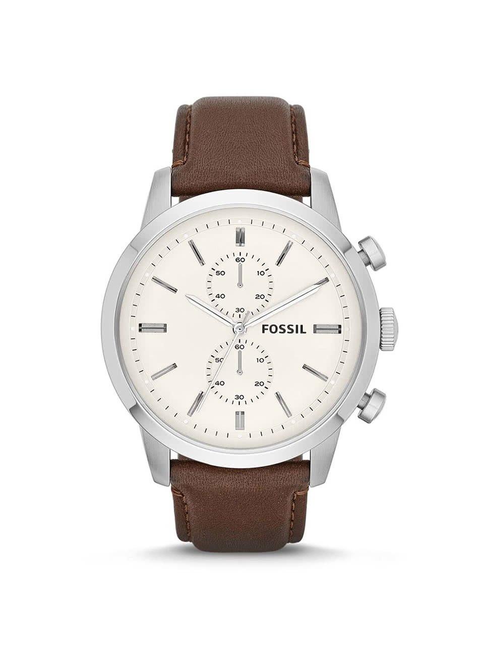 Pánské hodinky ve stříbrné barvě s hnědým koženým páskem Fossil