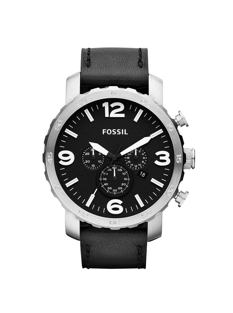 Pánské hodinky ve stříbrné barvě s černým koženým páskem Fossil