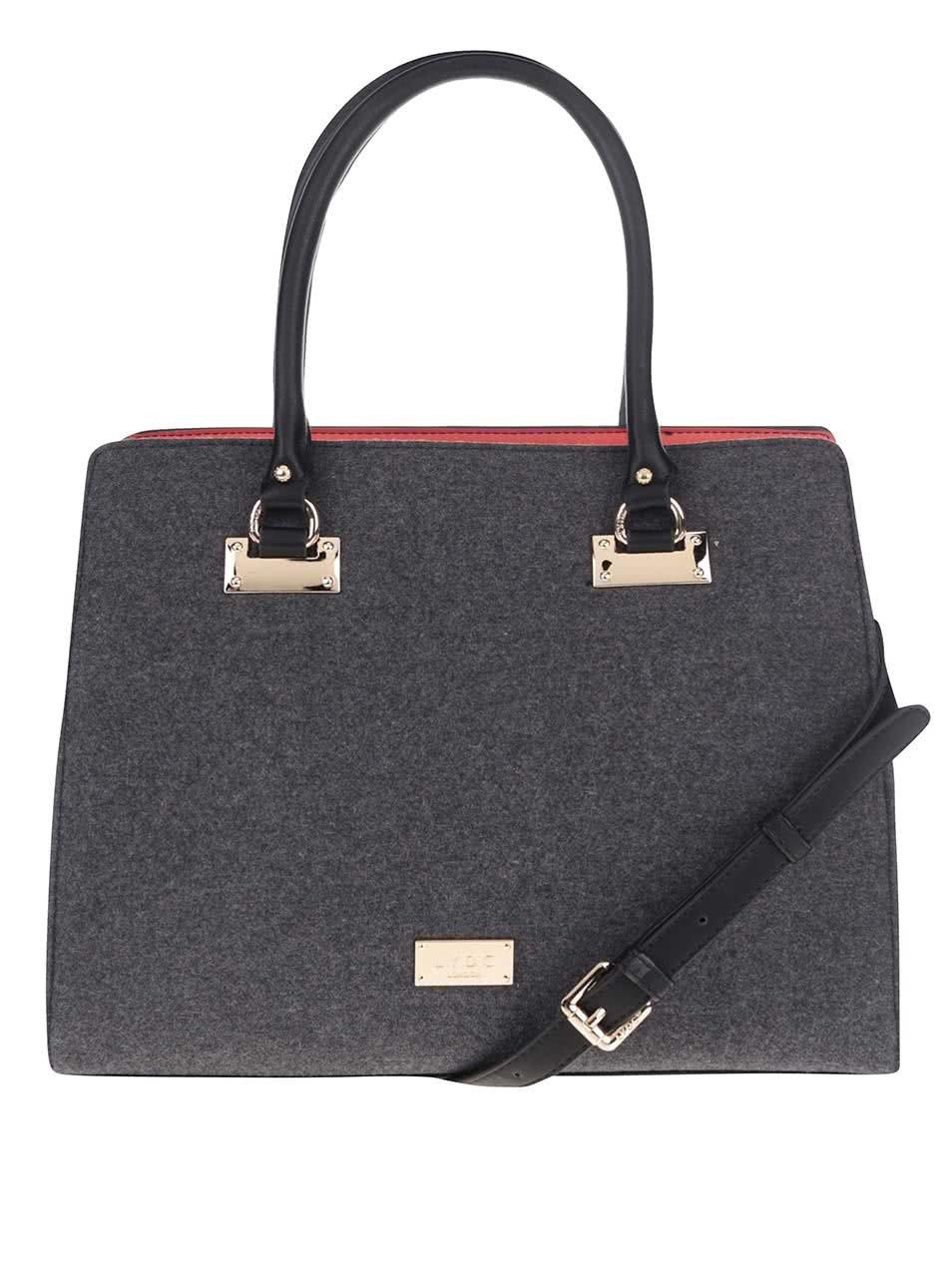 Černo-šedá kabelka s odnímatelným popruhem LYDC