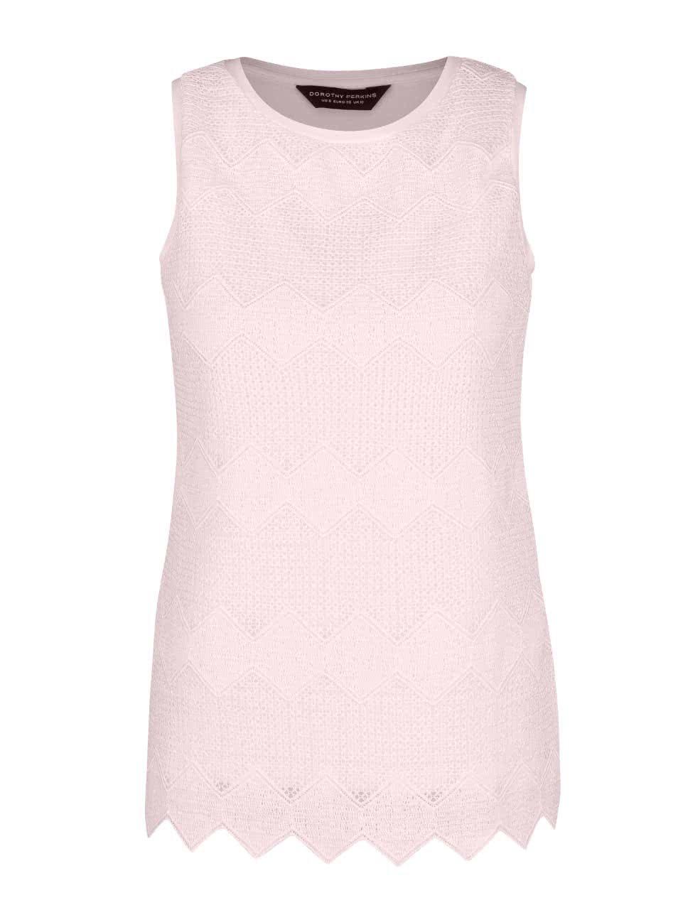 Světle růžová krajkovaná halenka Dorothy Perkins