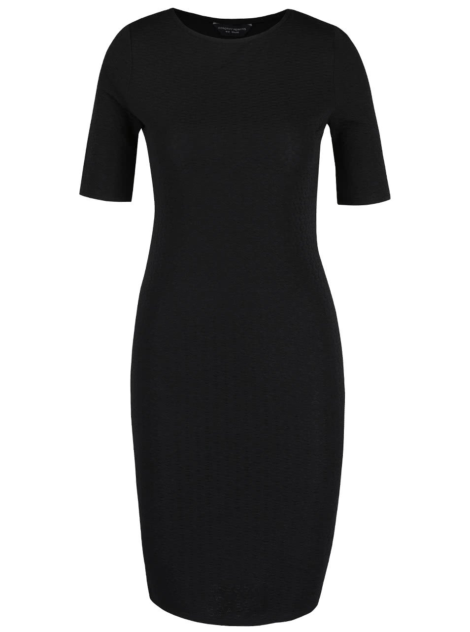 Černé strukturované šaty s krátkým rukávem Dorothy Perkins