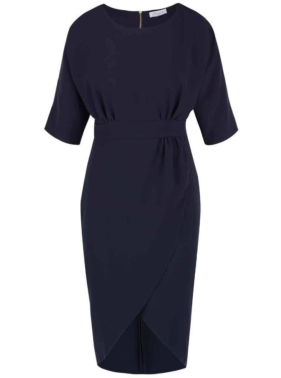 Tmavě modré šaty s překládanou sukní Closet