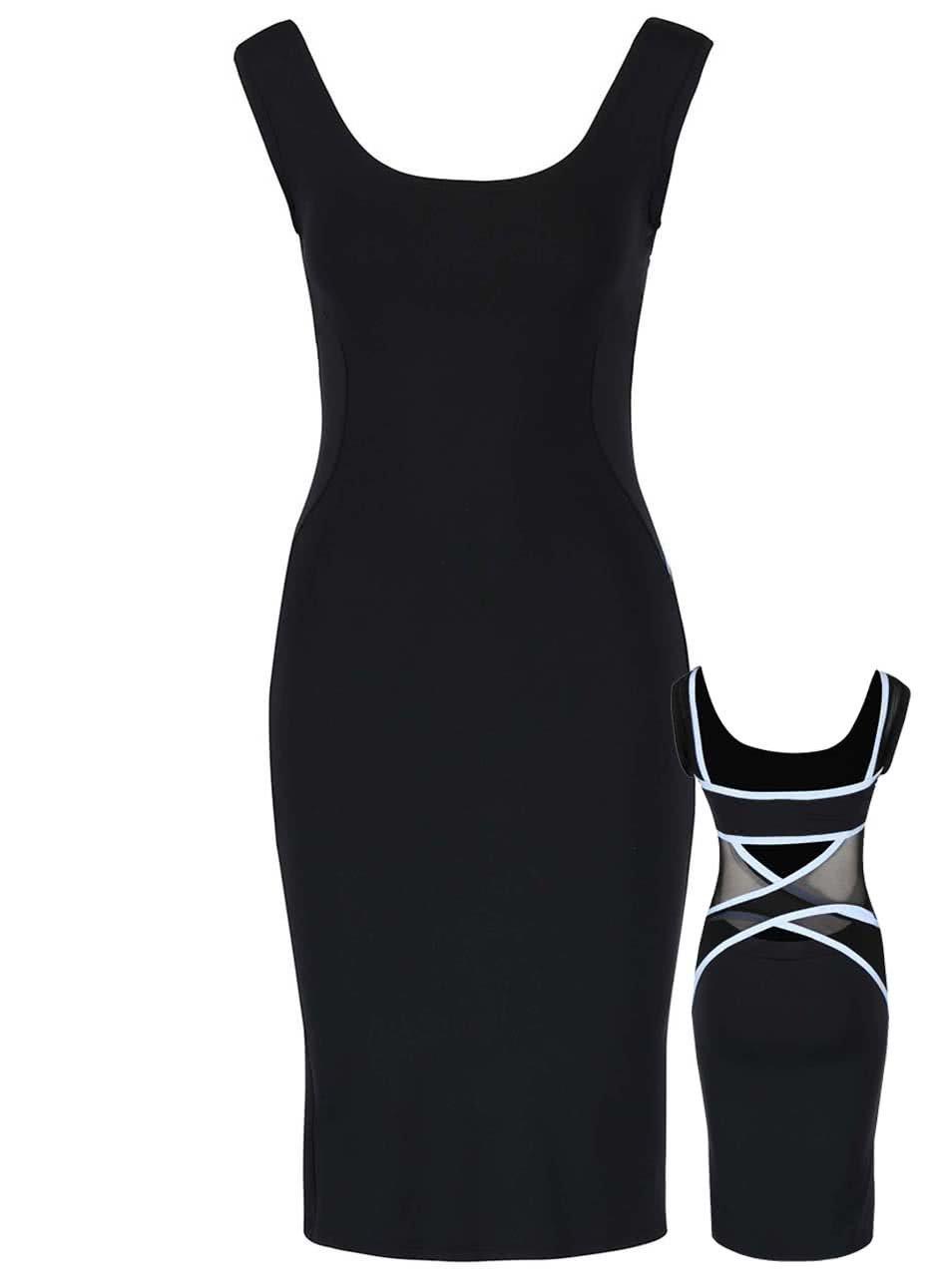 Modro-černé elastické šaty s ozdobnými pásy přes záda Quontum