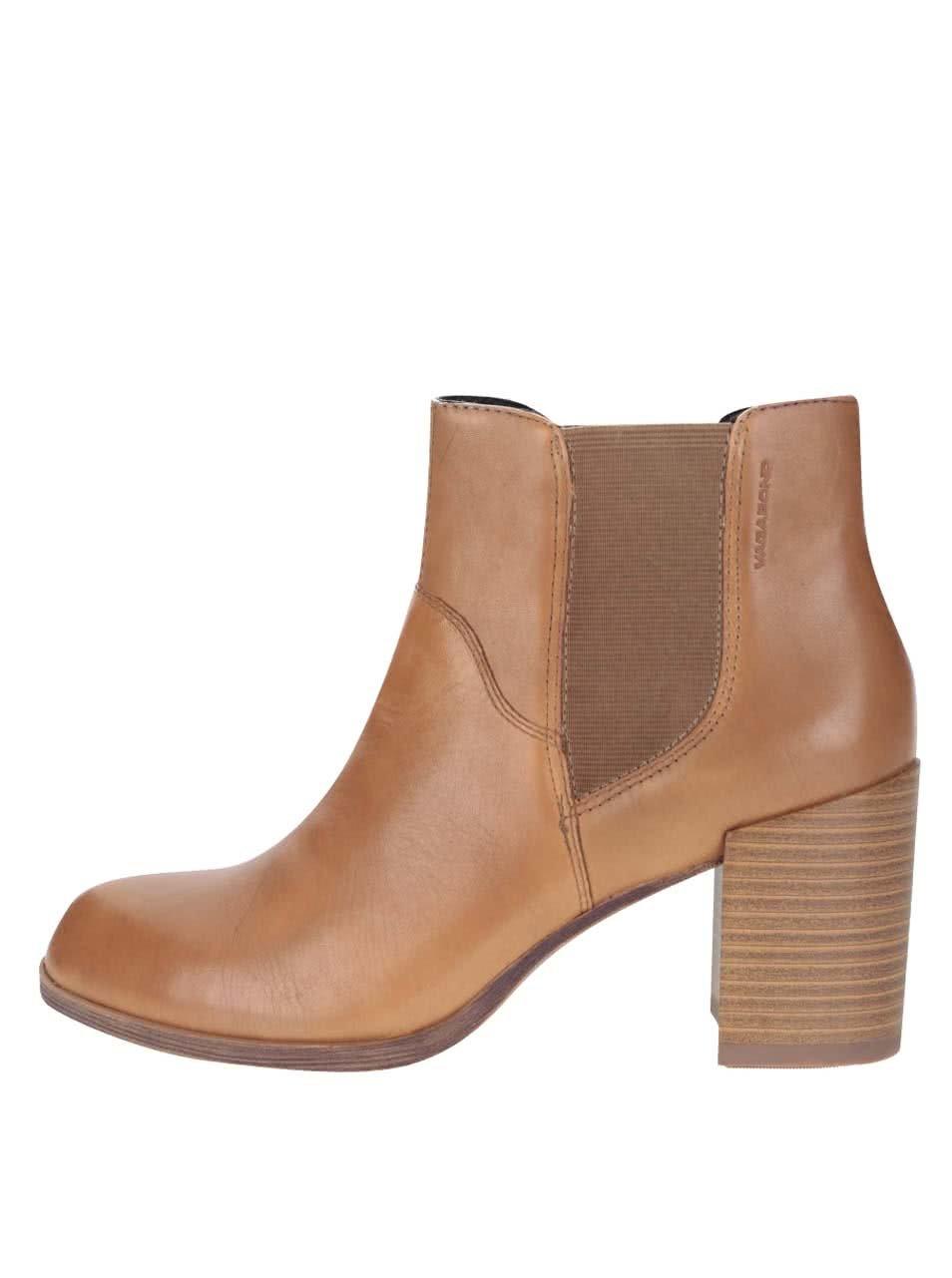 Hnědé kožené chelsea boty na podpatku Vagabond Anna