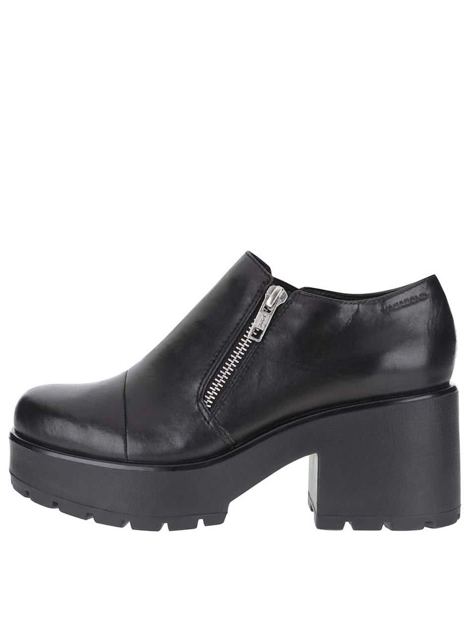 Černé kožené boty na platformě Vagabond Dioon