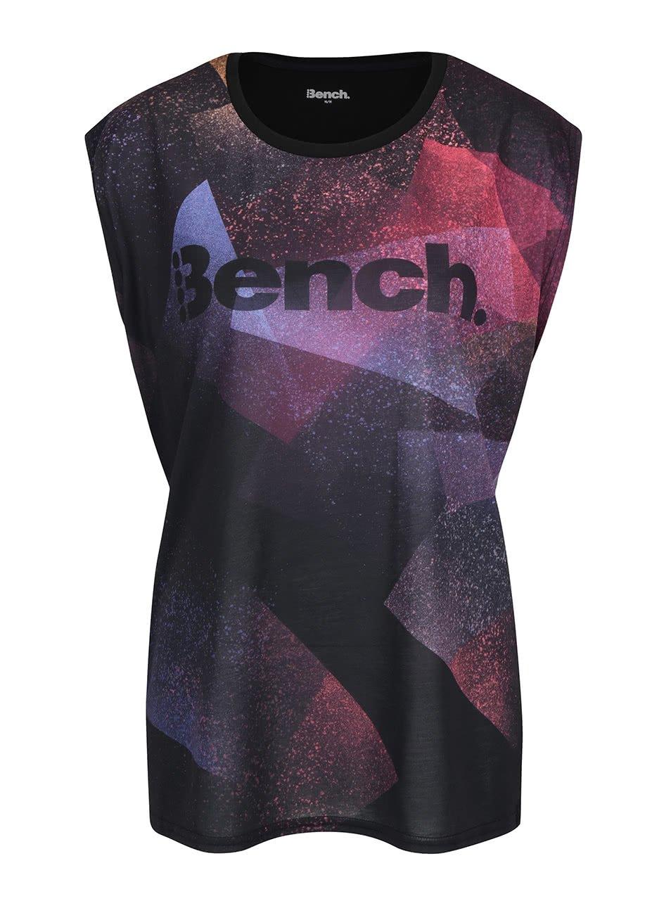 Fialovo-černé dámské tričko s potiskem Bench