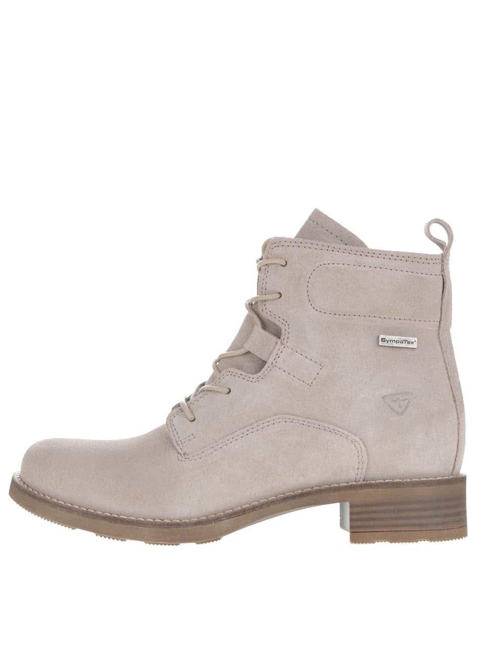 Šedé semišové kotníkové boty s kožíškem Tamaris