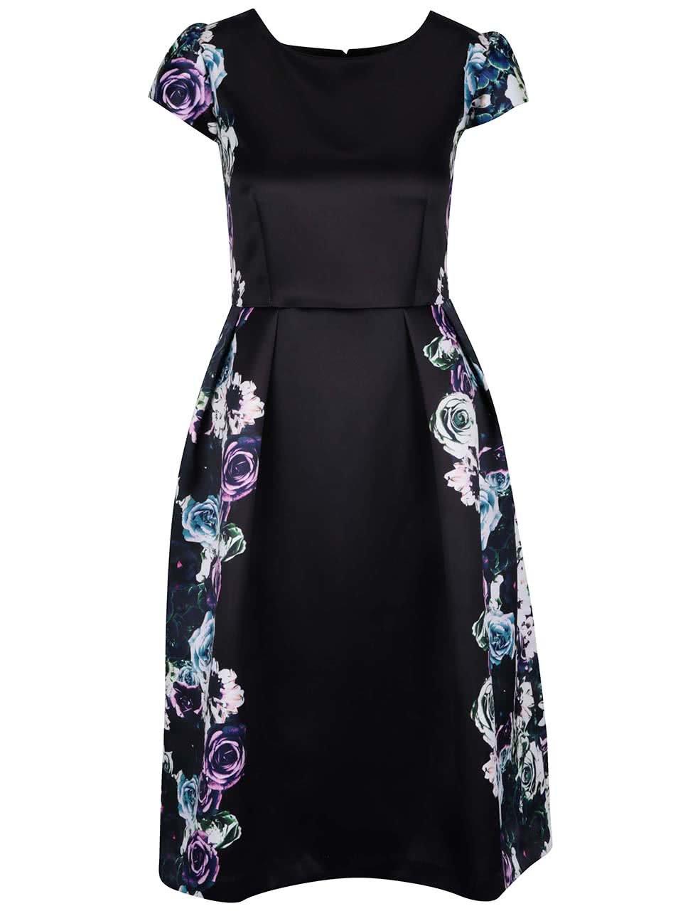 Černé šaty s květovaným motivem Wolf & Whistle