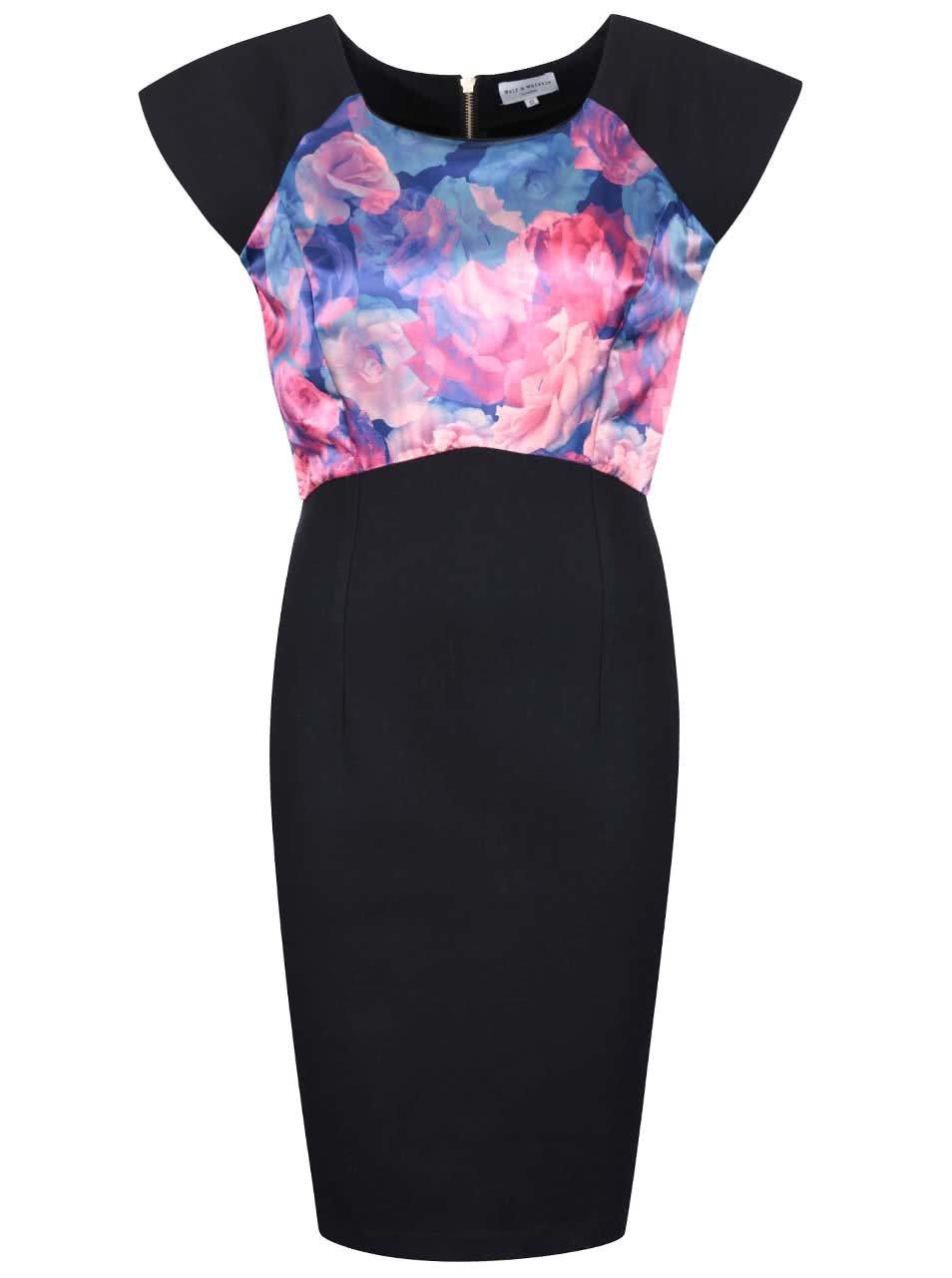 Černé pouzdrové šaty s květovaným topem Wolf & Whistle