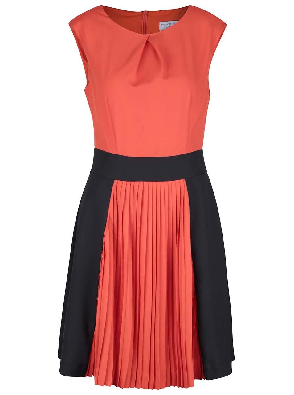 Černo-oranžové šaty s plisovanou sukní Wolf & Whistle