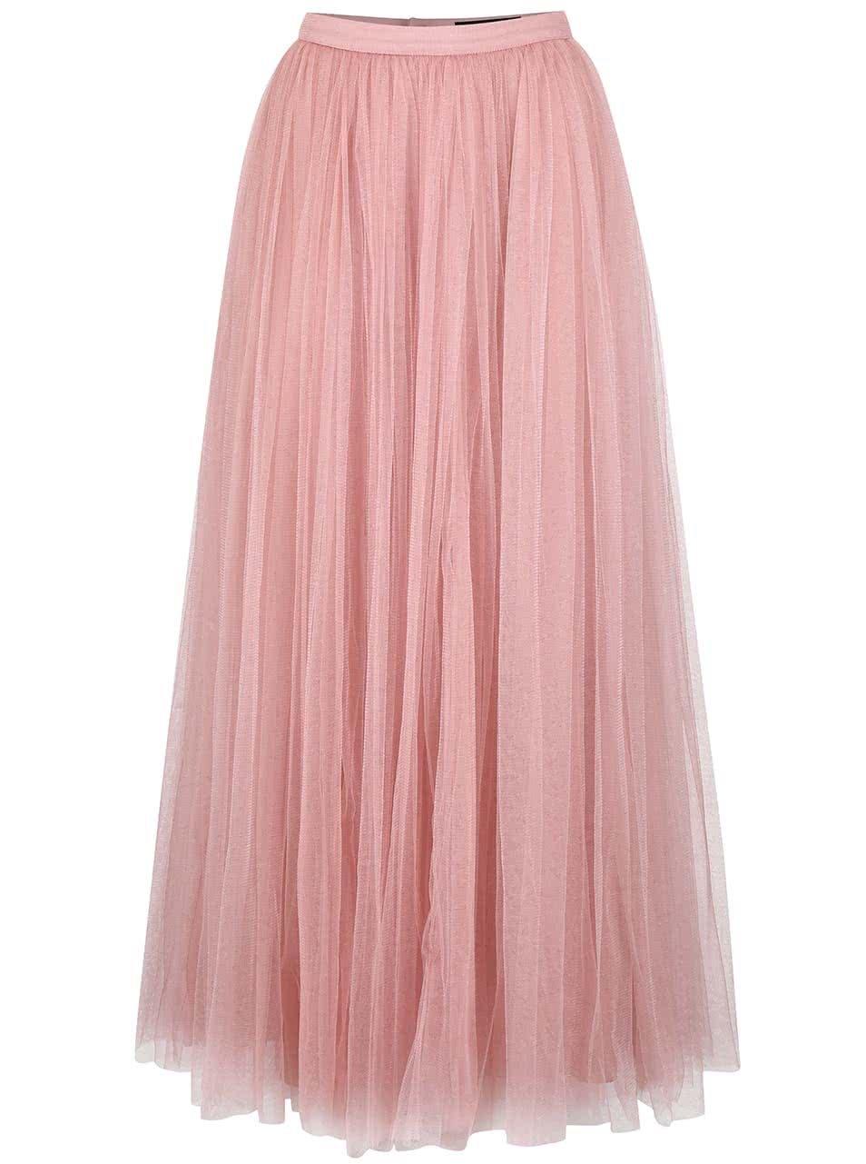 Růžová tylová maxi sukně Little Mistress