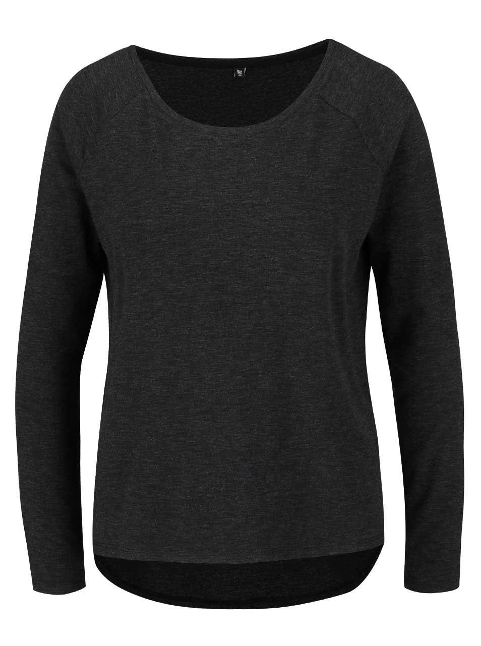 Tmavě šedé žíhané tričko s dlouhým rukávem ONLY Phoebe