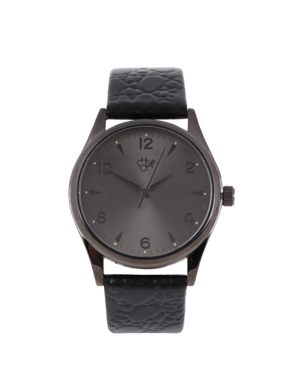 Tmavě šedé unisex hodinky s černým koženým páskem CHPO Harold