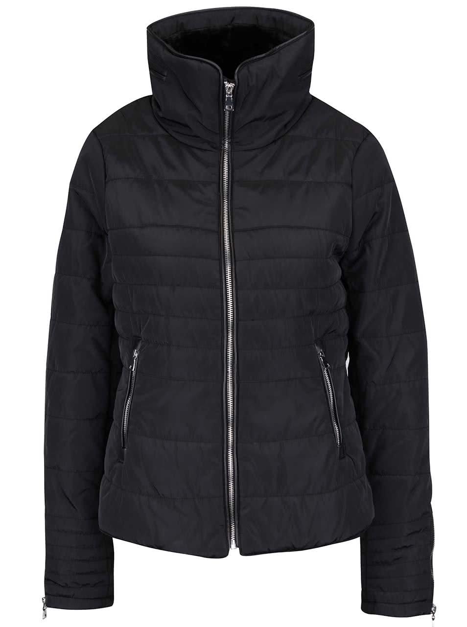 Černá prošívaná bunda na zip s vysokým límcem Vero Moda Lulu