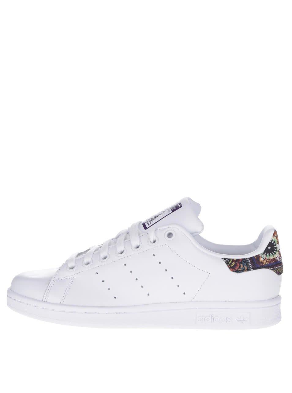 Bílé dámské kožené tenisky se vzorovanými detaily adidas Originals Stan Smith