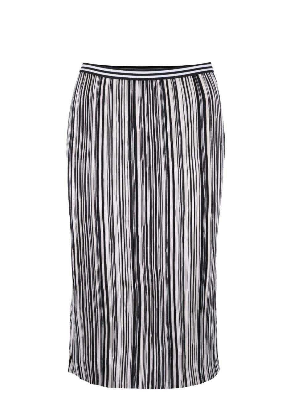 Černo-bílá pruhovaná plisovaná sukně s gumou v pase Miss Selfridge