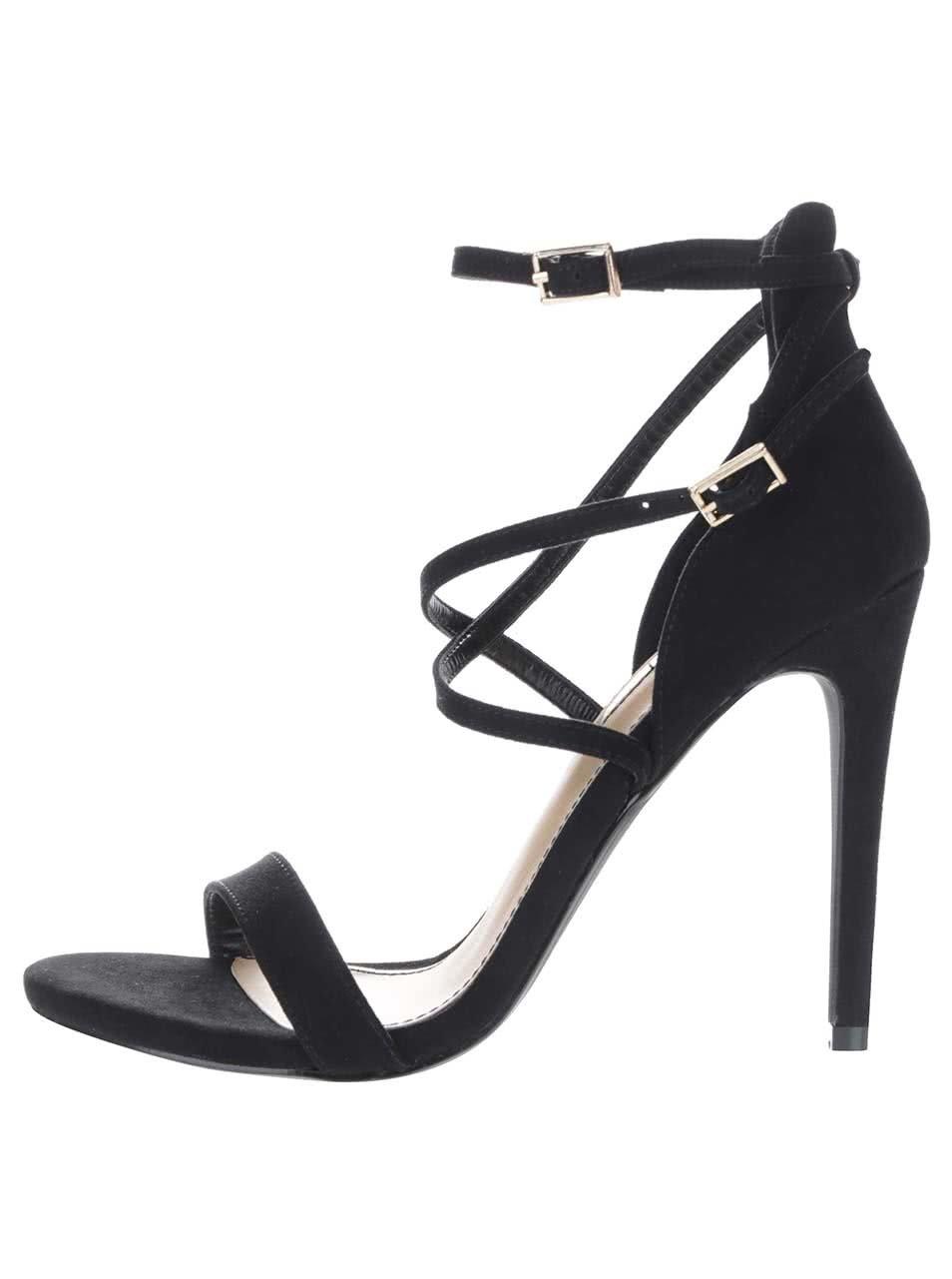 Černé sandálky na jehlovém podpatku v semišové úpravě Miss Selfridge
