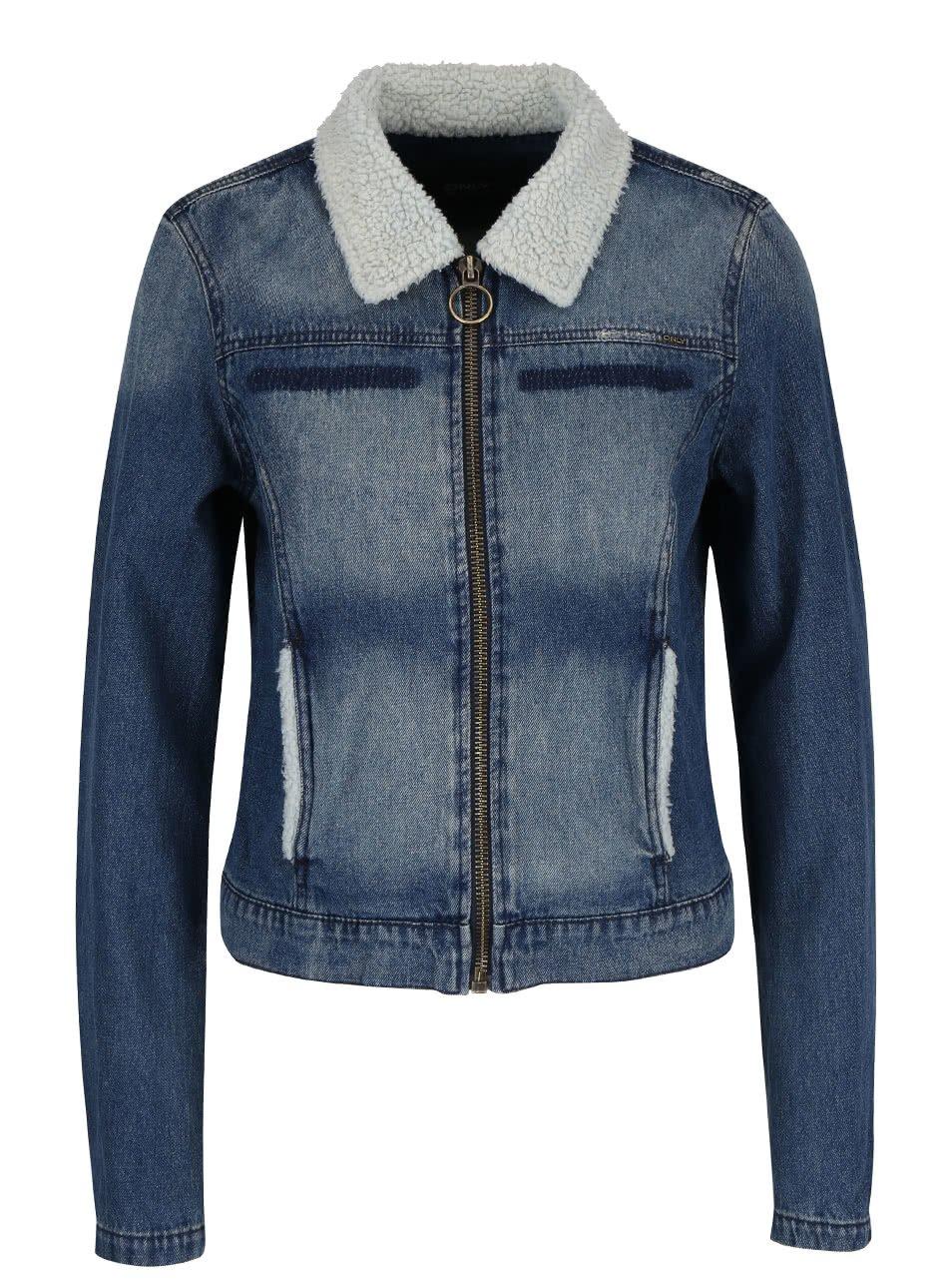 Džínová bunda s límcem z umělé kožešiny ONLY Keyla