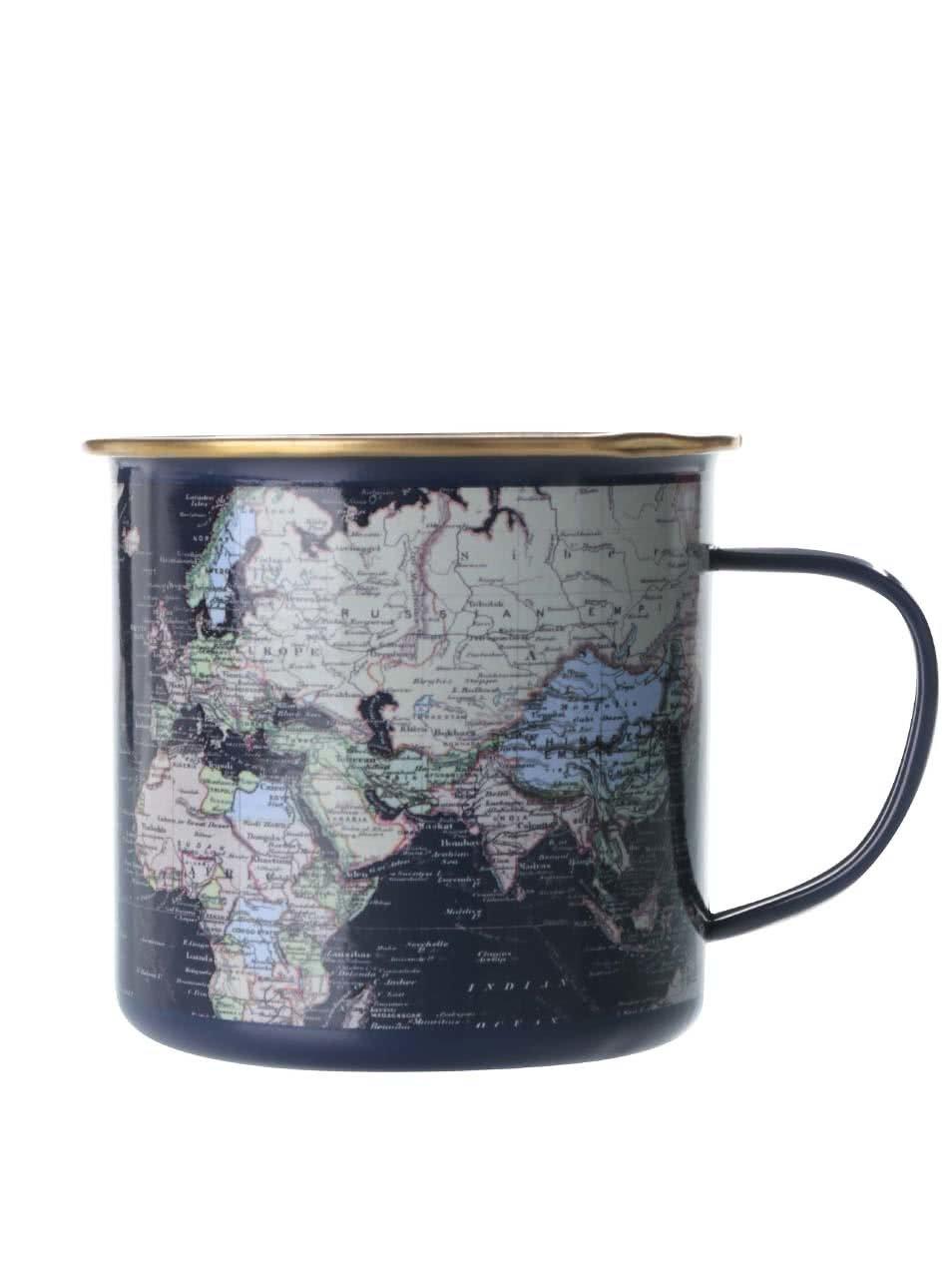 Tmavě modrý plechový hrnek s mapou světa Gift Republic