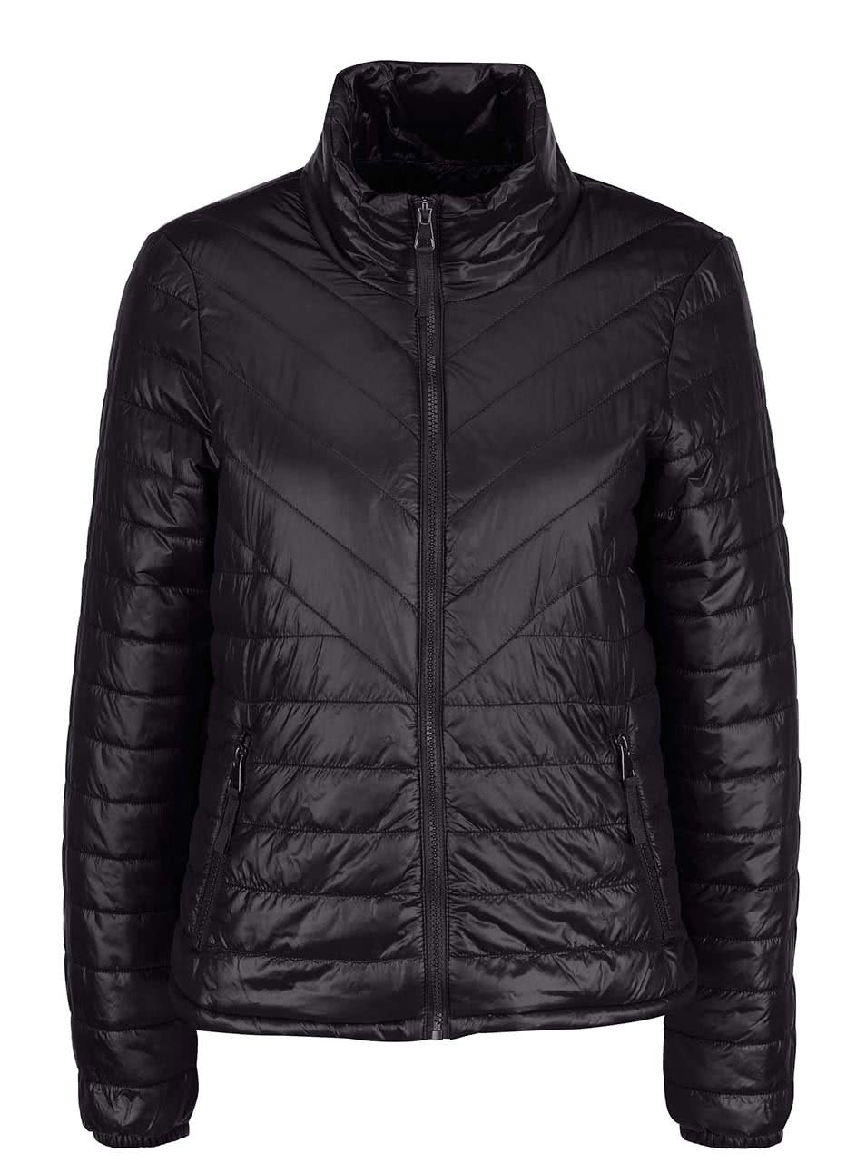 Černá lesklá prošívaná bunda Vero Moda Fine