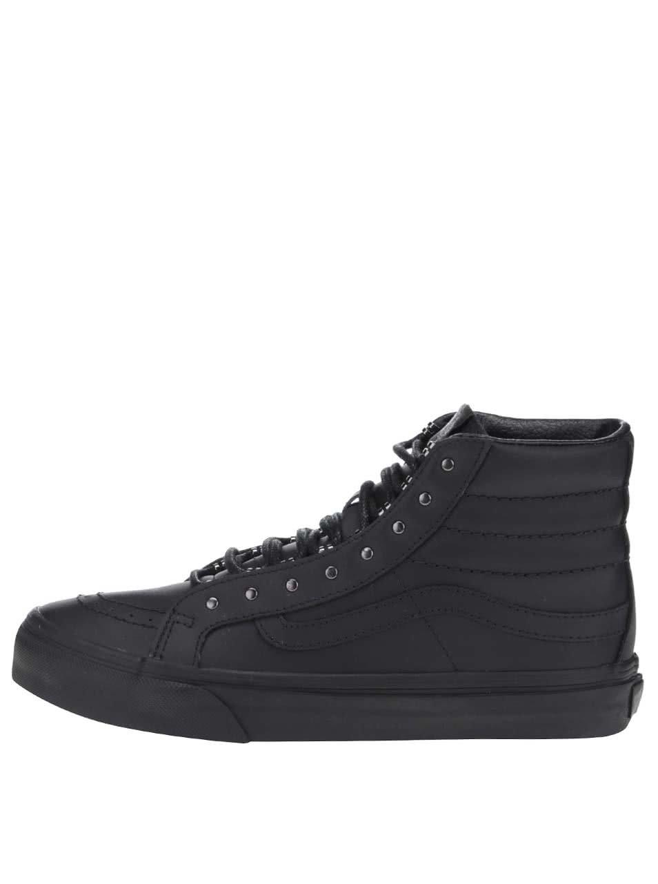 Černé dámské kožené kotníkové tenisky Vans SK8-Hi Slim