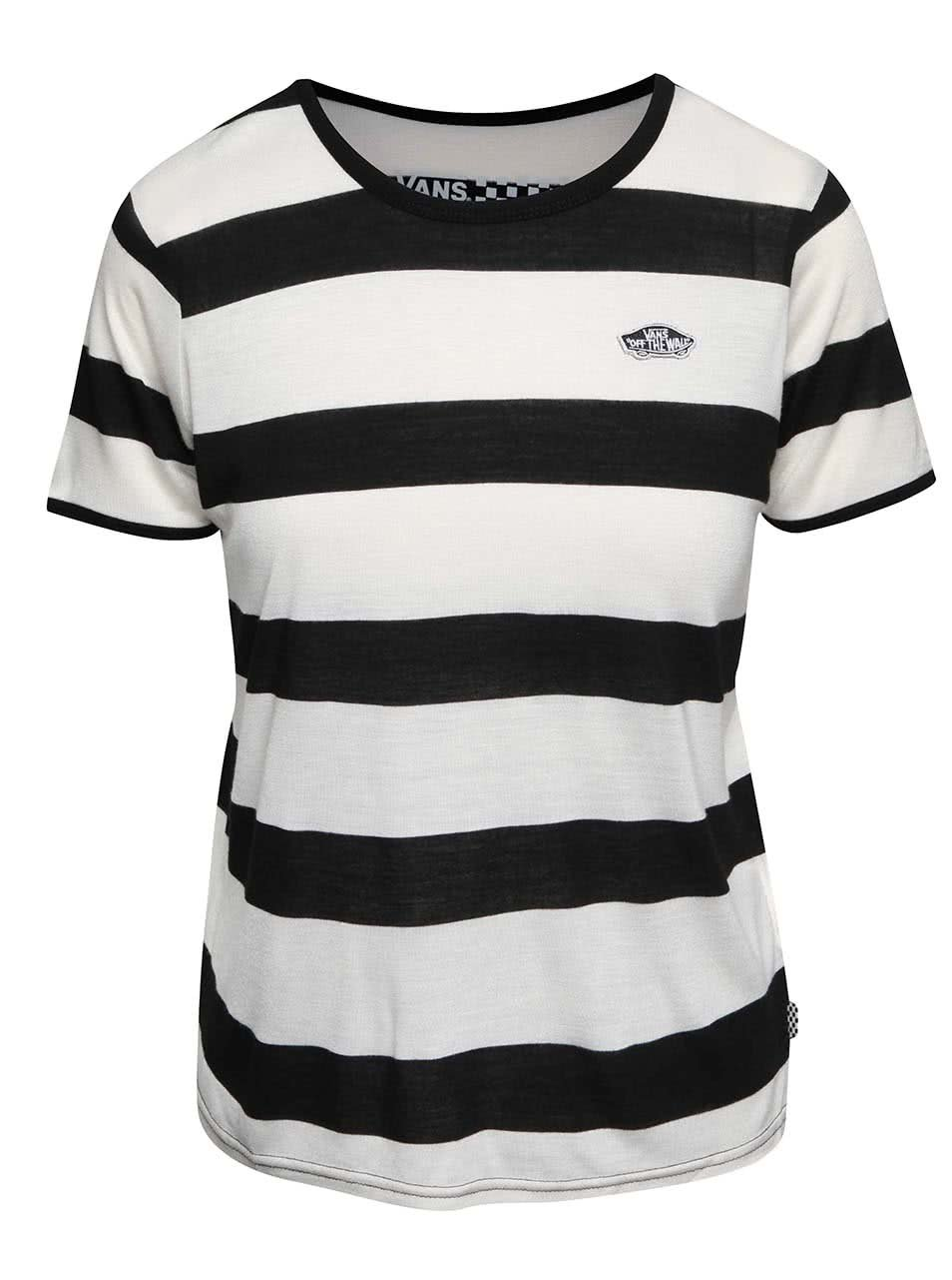 Krémovo-černé dámské pruhované tričko Vans Skate