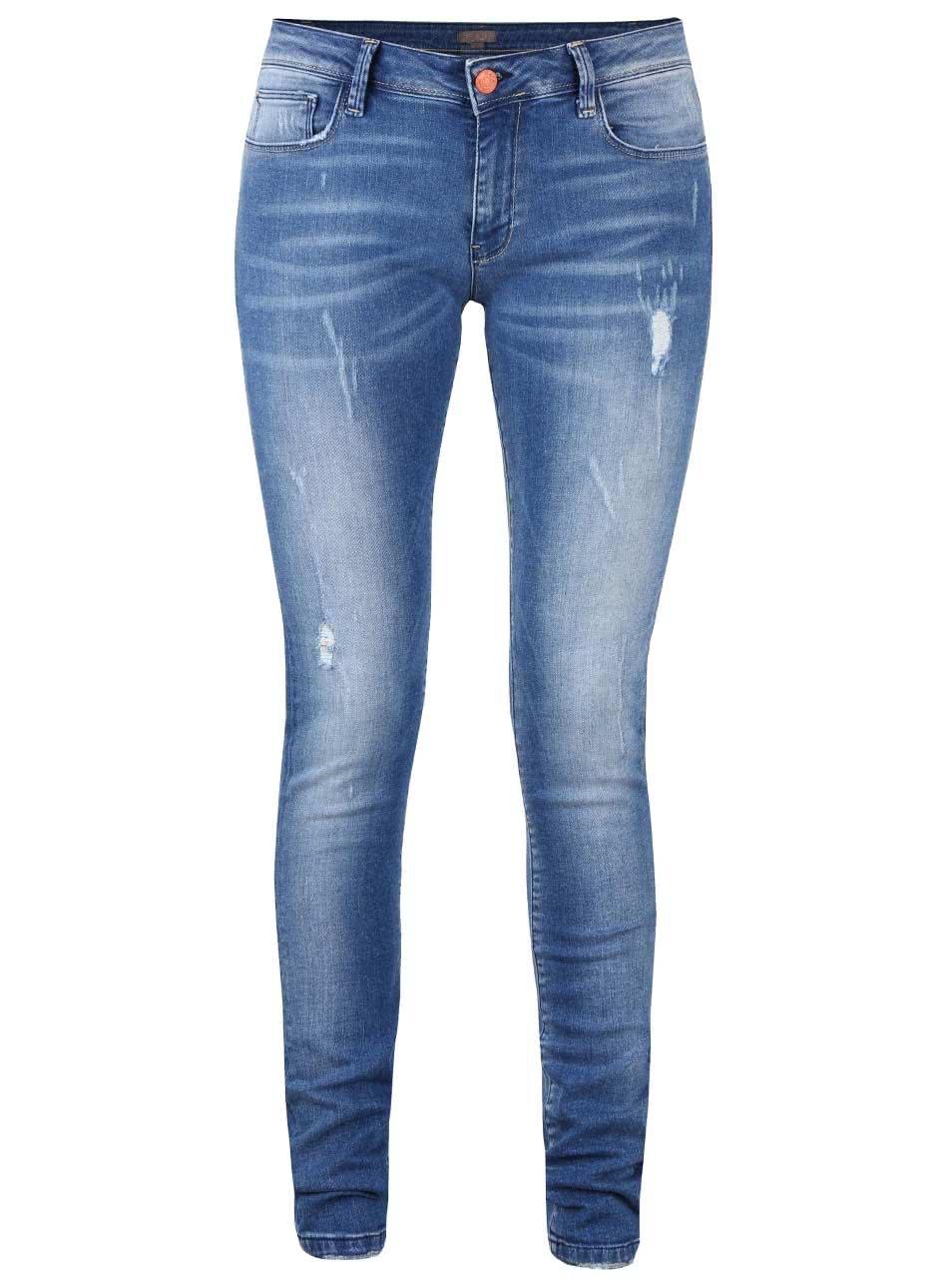Modré dámské džíny s vyšisovaným efektem Cars Juliette
