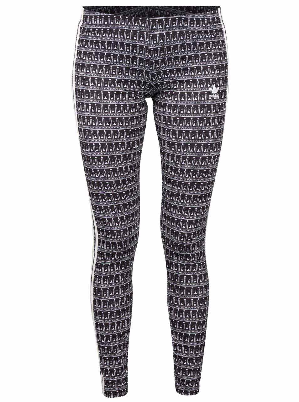 Bílo-černé dámské vzorované legíny adidas Originals Pavao