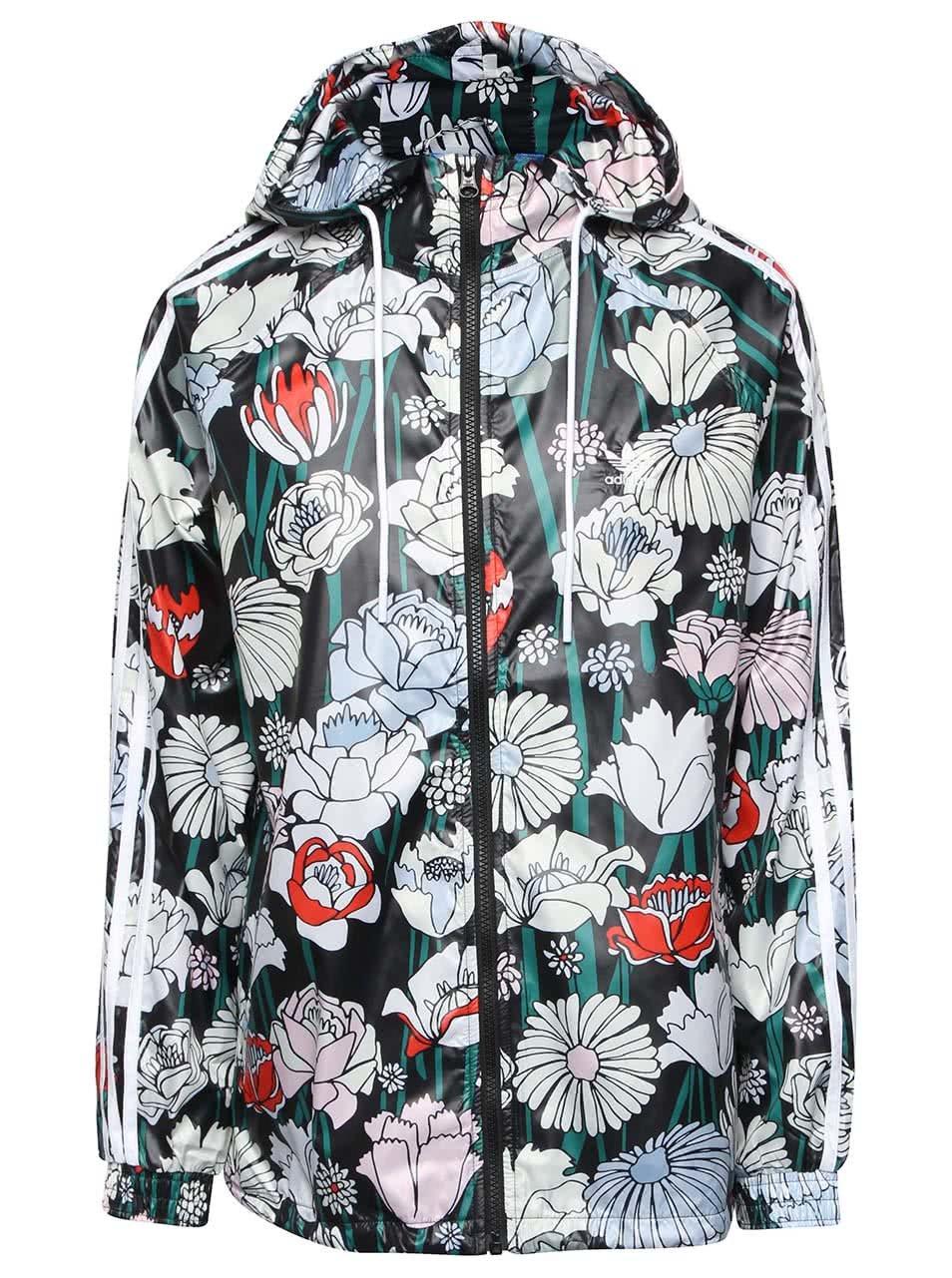 Černá dámská šusťáková bunda s barevnými květy adidas Originals Windbreaker