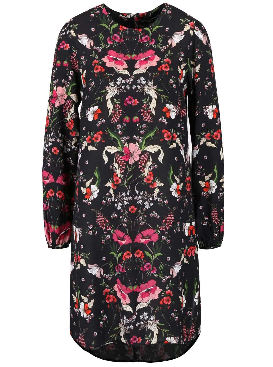 Černé květinové šaty s dlouhým rukávem Dorothy Perkins