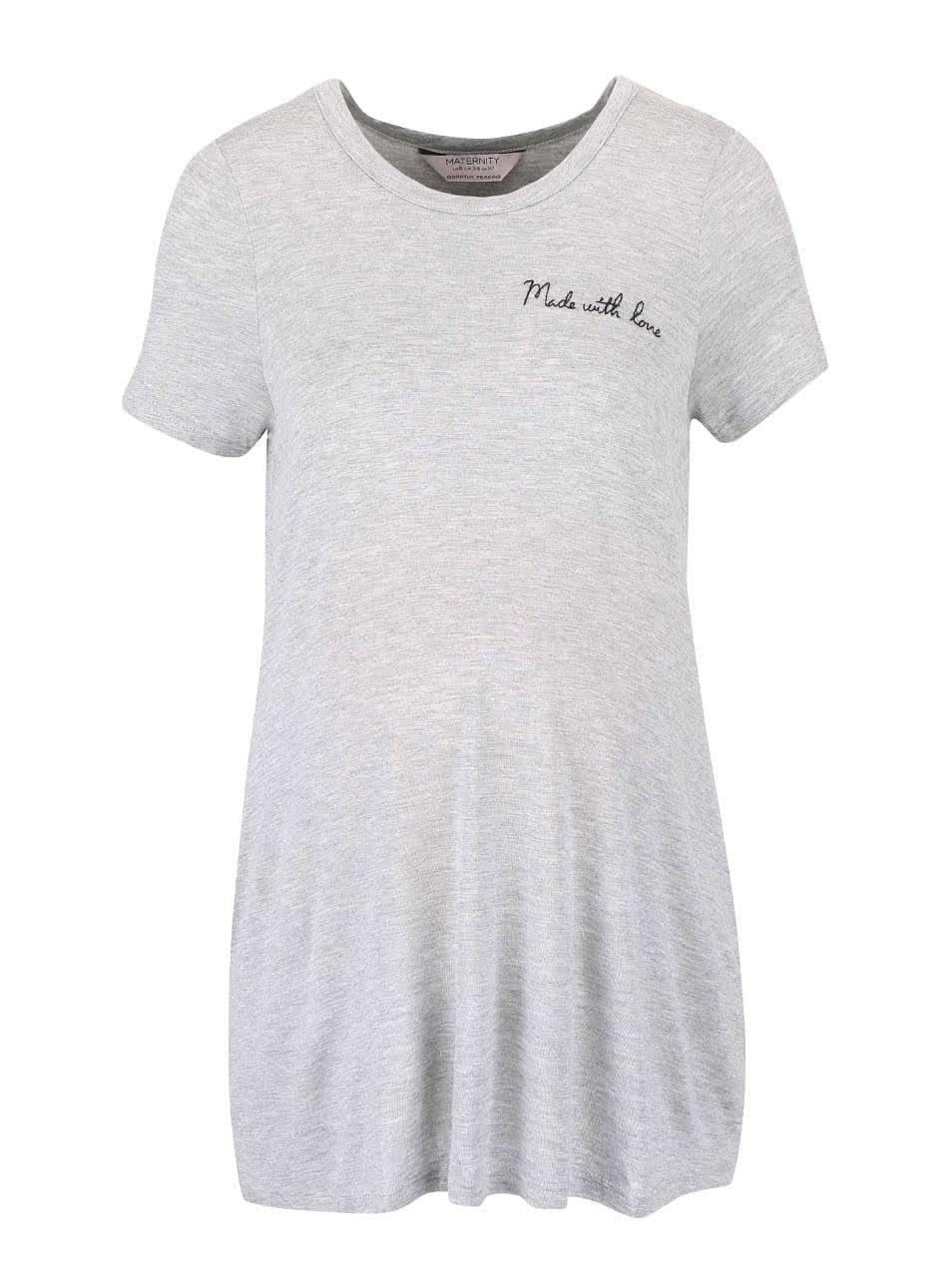 Šedé těhotenské tričko Dorothy Perkins Maternity