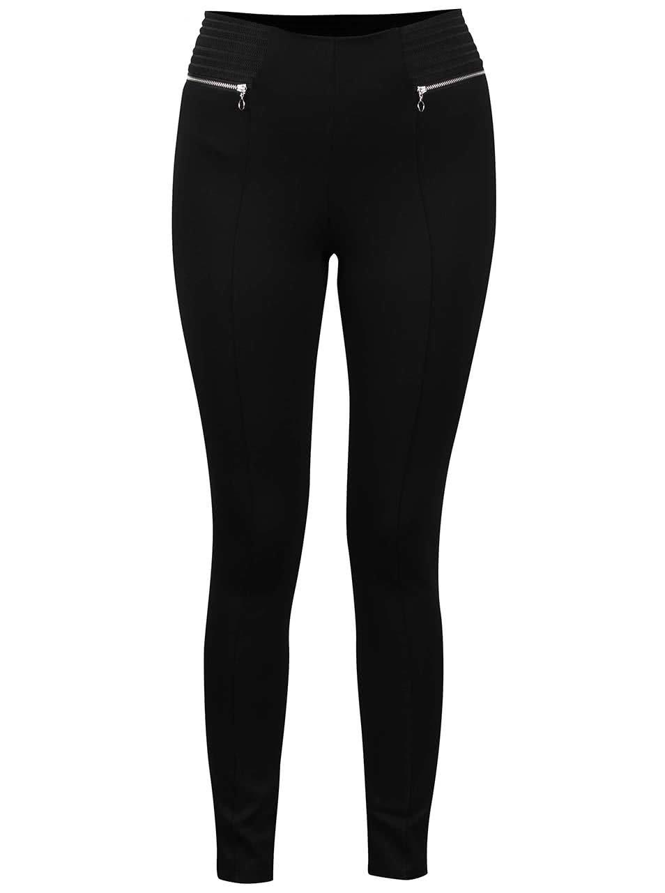 Černé elastické skinny kalhoty s ozdobnými zipy Dorothy Perkins