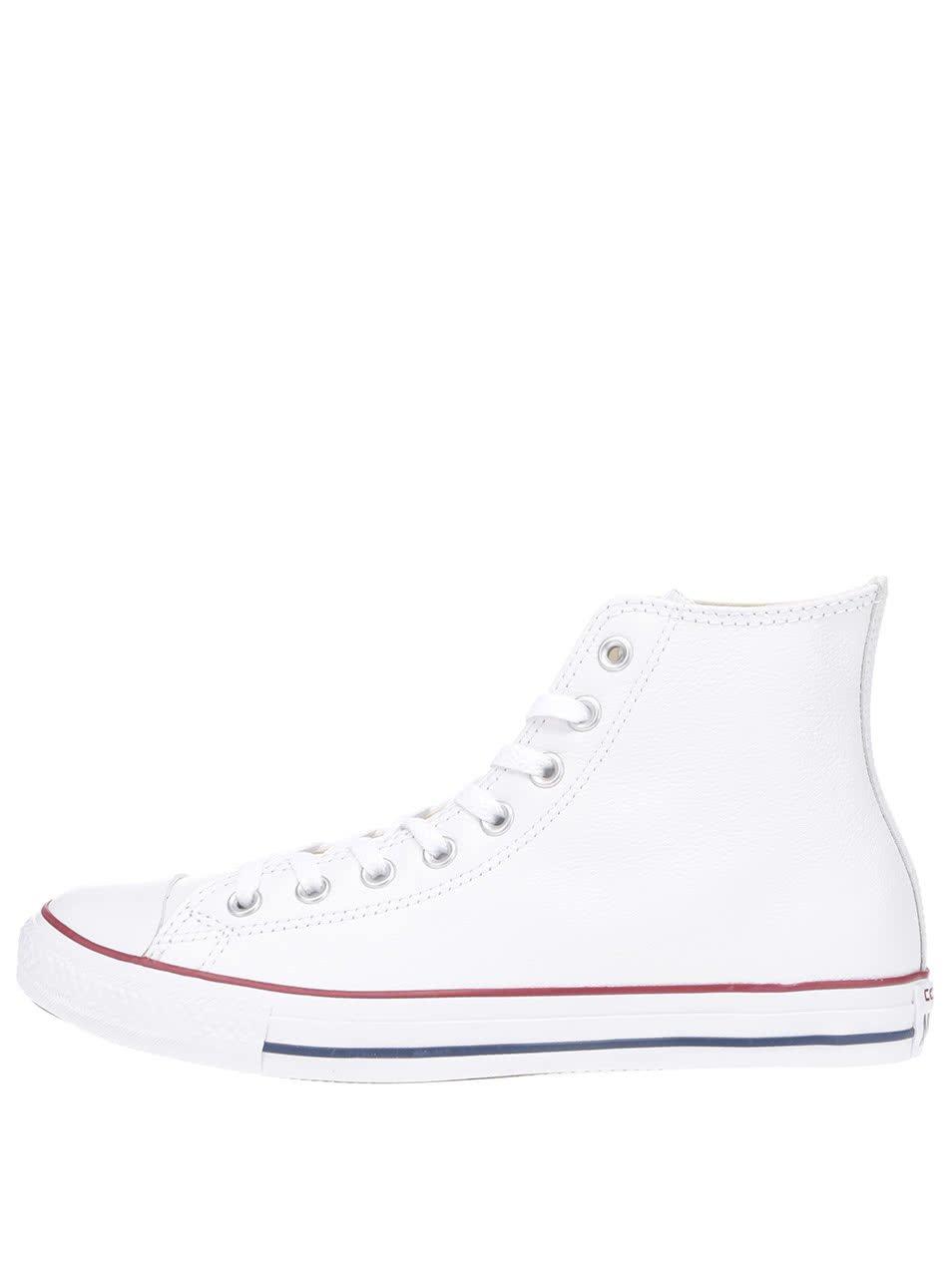Bílé unisex kožené kotníkové tenisky Converse Chuck Taylor All Star